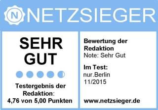 Testsiegel - Sehr gut - nur.Berlin-Hauptstadtshirts