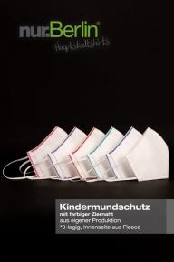nur.Berlin® Kindermundschutz in WEISS mit farbiger Ziernaht
