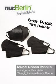 nur.Berlin® Mund-Nasen-Bedeckung (5-er Pack)