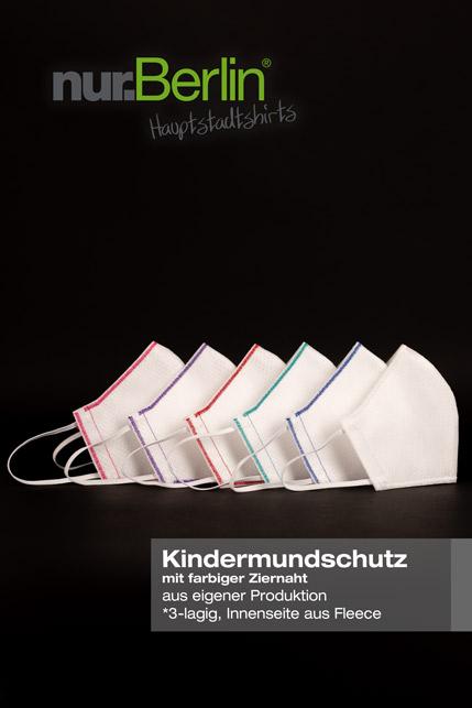 Produktbild: nur.Berlin® Kindermundschutz in WEISS mit farbiger Ziernaht