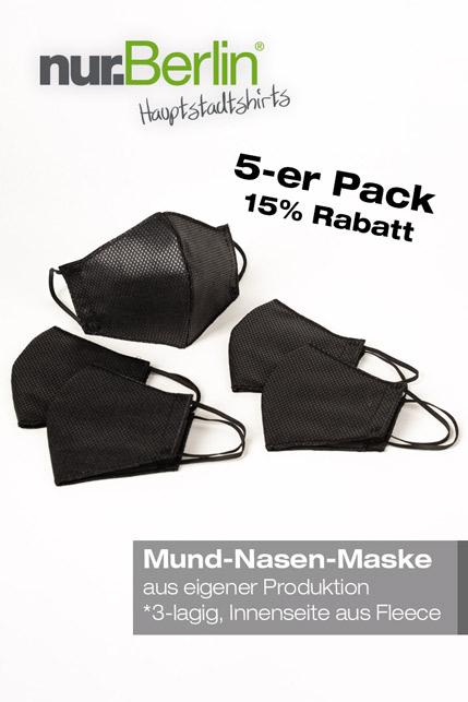 Produktbild: nur.Berlin® Mund-Nasen-Bedeckung (5-er Pack)