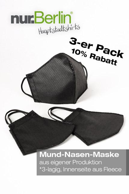 Produktbild: nur.Berlin® Mund-Nasen-Maske (3-er Pack)