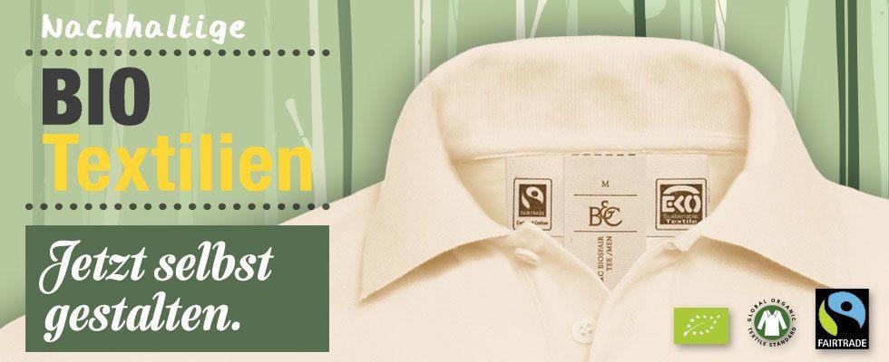 Online-Shop-Banner: Bio-Shirts selber gestalten