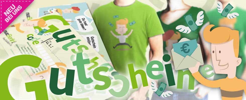 Online-Shop-Banner: Geschenkgutscheine zum T-Shirt selbst gestalten